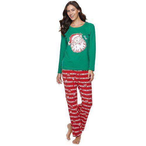 Women's Jammies For Your Families Santa Ho Ho Ho Family Tee & Pants Pajama Set