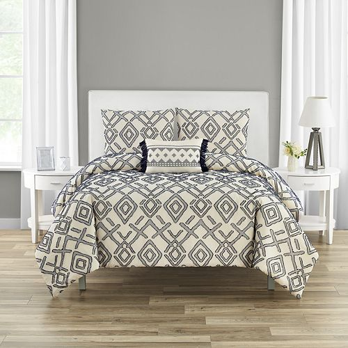 Giovanni 4-piece Clipped Jacquard Cotton Comforter Set
