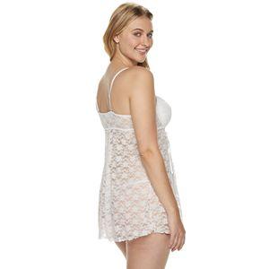 Plus Size Lunaire Stretch Lace Babydoll