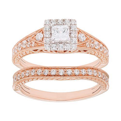 14k Gold 1 Carat T.W. IGL Certified Diamond Engagement Ring Set