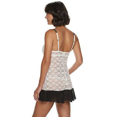 Women's Lunaire Molded Cup Stretch Lace Babydoll with Beaded Lace Trim