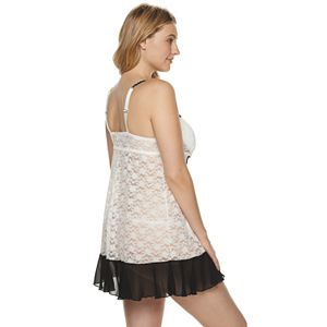 Plus Size Lunaire Molded Cup Stretch Lace Baby Doll with Beaded Lace Trim