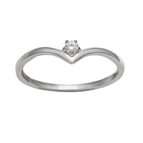 Primrose Sterling Silver Polished V Band Round Cubic Zirconia Ring