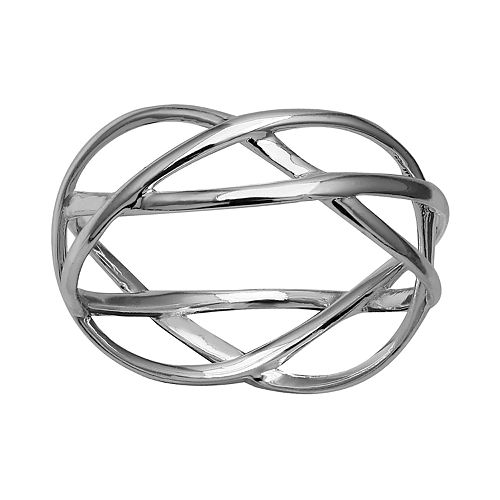PRIMROSE Sterling Silver Crossover Band Ring