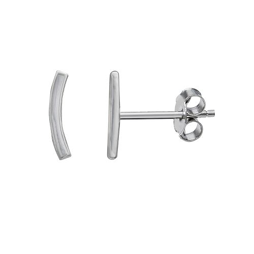 Primrose Sterling Silver Polished Curved Bar Stud Earrings