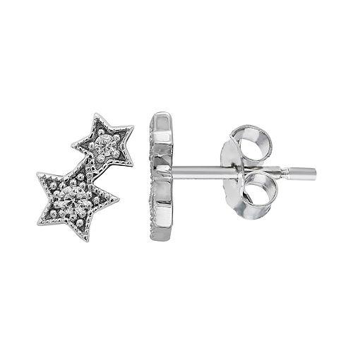 PRIMROSE Sterling Silver Cubic Zirconia Double Star Stud Earrings