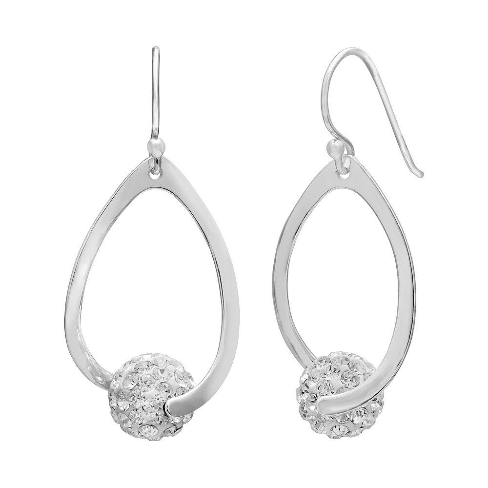 PRIMROSE Sterling Silver Crystal Ball Teardrop Earrings