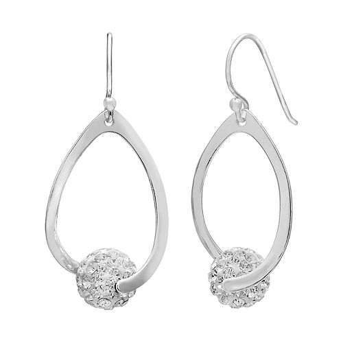 PRIMROSE Sterling Silver Crystal Ball Teardrop Earrings