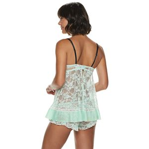 Women's Lunaire Floral Stretch Lace Molded Cup Babydoll with Pleated Chiffon Trim