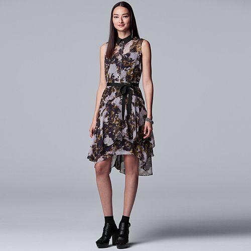 Petite Simply Vera Vera Wang Print Shirt Dress