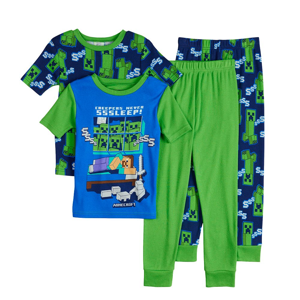 Boys 6-12 Minecraft Never Sleep Tops & Bottoms Pajama Set