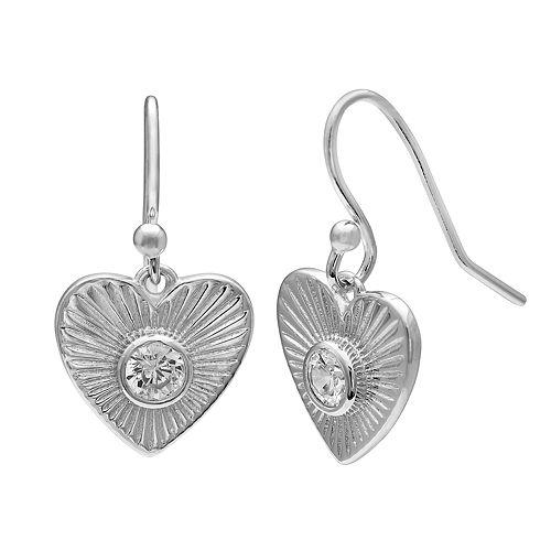 PRIMROSE Sterling Silver Cubic Zirconia Textured Heart Drop Earrings