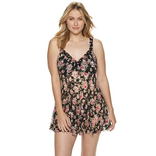 Plus Size Lunaire Rose Print Lace Babydoll with Underwire