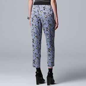Petite Simply Vera Vera Wang Floral Crop Track Pants