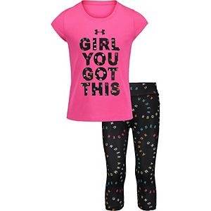 "Girls 4-6x Under Armour ""Girl You Got This"" Tank Top & Print Leggings Set"