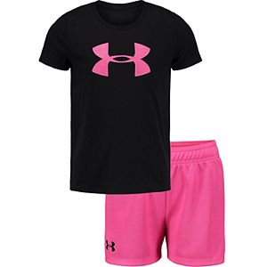 Girls 4-6x Under Armour Pink and Black Big Logo Tee Set