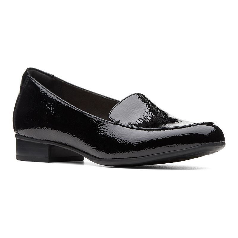 These sharp Clarks Juliet Lora loafers have a low vamp and slipper comfort styling. These sharp Clarks Juliet Lora loafers have a low vamp and slipper comfort styling. SHOE FEATURES Slight stacked heel Ultimate Comfort features like an OrthoLite® footbed keep bare feet in dry comfort Rubber outsole makes it an all-day walkerSHOE CONSTRUCTION Synthetic upper Textile lining Rubber outsoleSHOE DETAILS Almond toe Slip-on Foam footbed Size: Medium (11). Color: Oxford. Gender: female. Age Group: adult. Material: Leather.
