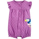 Baby Girl Carter's Polka Dot Toucan Snap-Up Romper