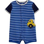 Baby Boy Carter's Striped Construction Snap-Up Romper