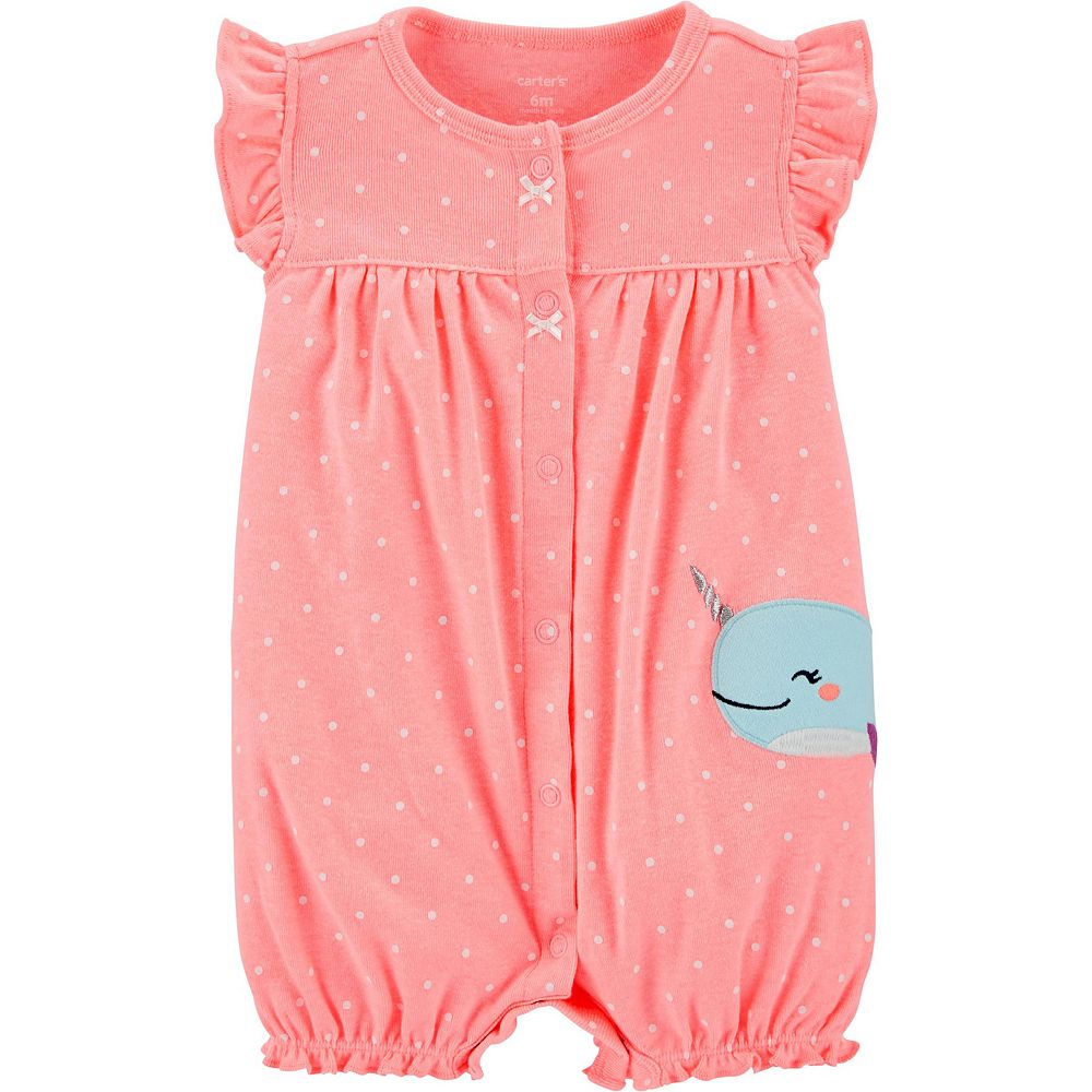 Baby Girl Carter's Narwhal Snap-Up Romper