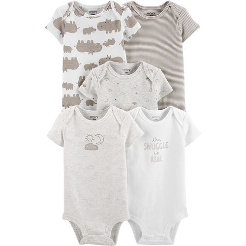 Baby Carter's 5-Pack Neutral Prints Original Bodysuits