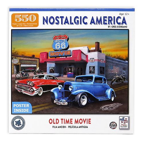 Nostalgic America Old Time Movie 550-Piece Jigsaw Puzzle with Bonus Poster