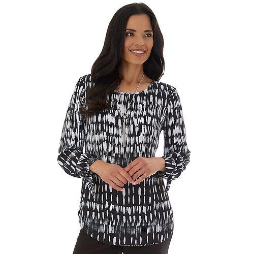 Women's Apt. 9® Keyhole Sleeve Tie Crepe Shirt