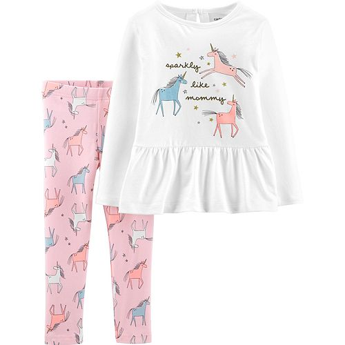 Toddler Girl Carter's Unicorn Peplum Top & Leggings Set