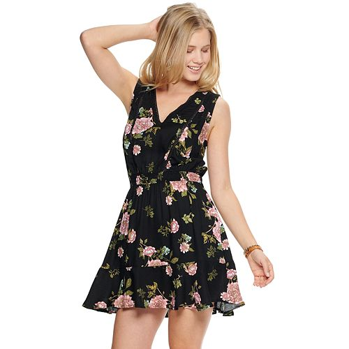 Juniors' American Rag Sleeveless Flounce Dress with Lace Inserts