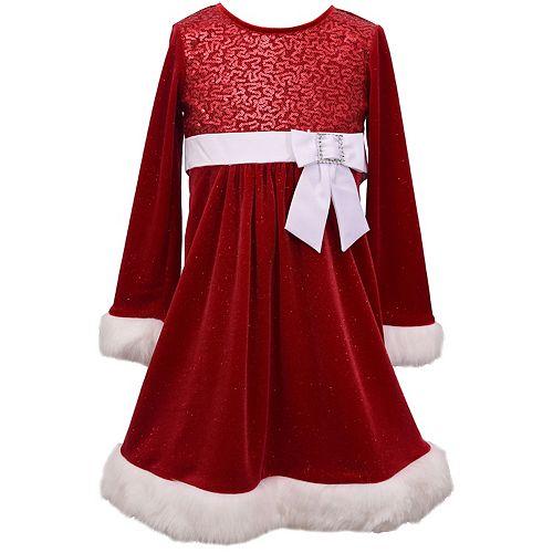 Girl's 7-16 Bonnie Jean Sequin Sparkle Velvet Dress