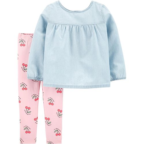 Toddler Girl Carter's Chambray Top & Cherry Leggings Set