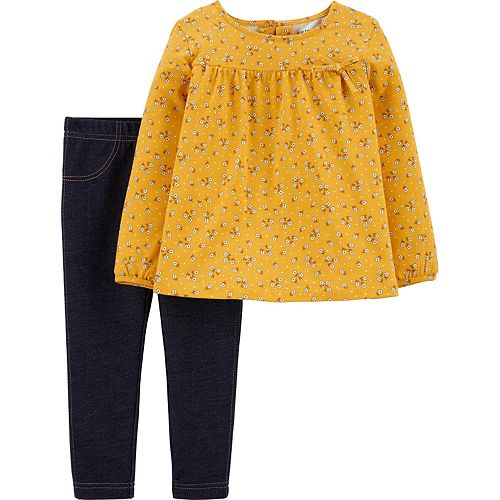 Toddler Girl Carter's Floral Jersey Top & Jeggings Set
