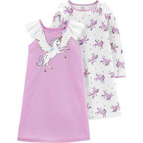Girls 4-14 Carter's 2-Pack Unicorn Dorm Nightgowns