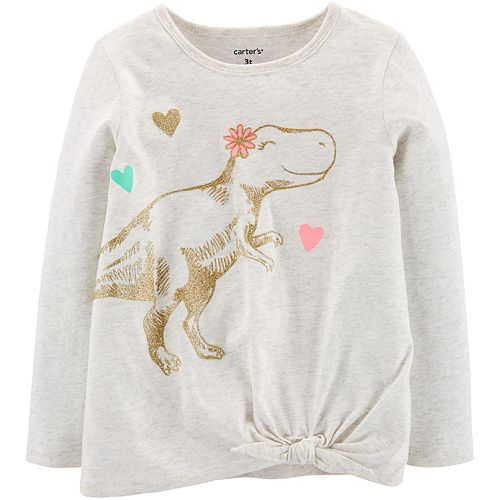 Toddler Girl Glitter Dinosaur Knot-Front Top