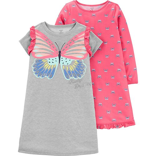 Girls 4-14 Carter's 2-Pack Butterfly Dorm Nightgowns