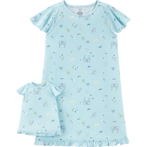 Girls 4-14 Carter's Castle Dorm Nightgown & Matching Doll Gown