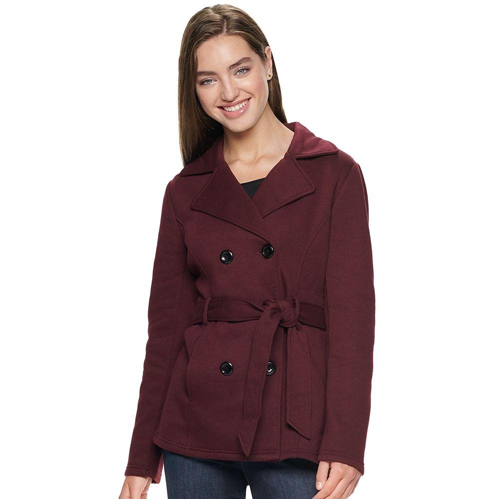 Juniors' Sebby Collection Fleece Belted Trench Coat