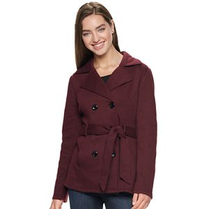 Juniors' Sebby Collection Fleece Belted Trench Coat