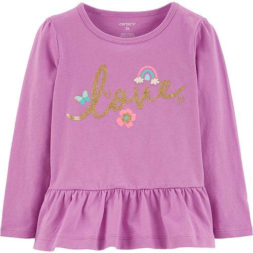 Toddler Girl Carter's Glitter Love Peplum-Hem Top