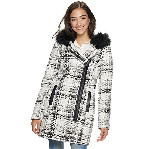 Juniors' IZ Byer Asymmetrical Zip Chunky Plaid Faux Wool Jacket