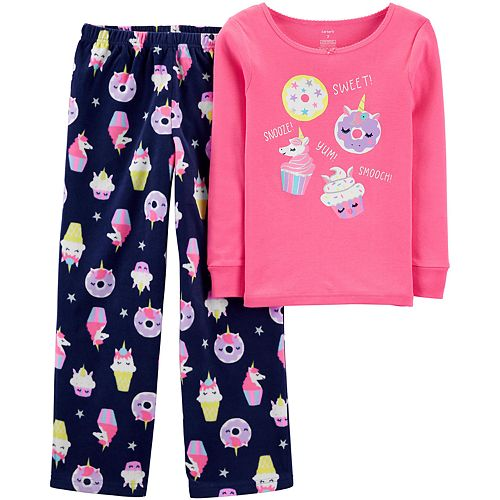 Girls 4-14 Carter's Snug Fit Cotton & Fleece Top & Bottoms Pajama Set