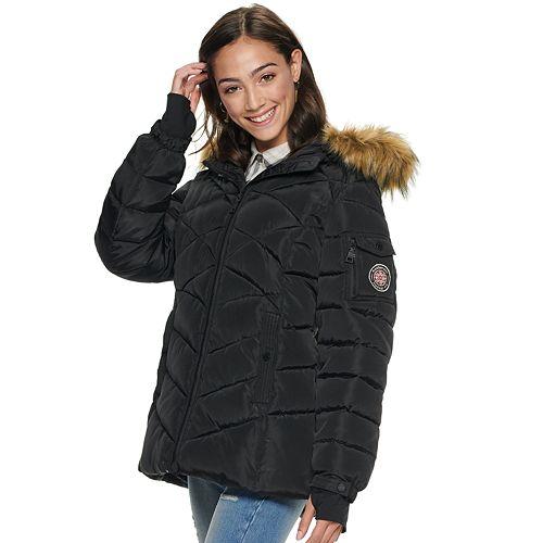 Juniors' madden NYC Short Nylon Puffer Coat