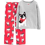 Girls 4-14 Carter's 2-Piece French Bulldog Snug Fit Cotton & Fleece Pajamas