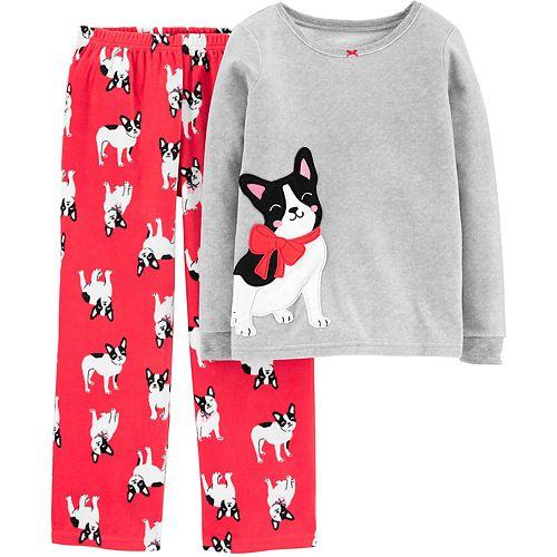 Girls 4-14 Carter's 2-Piece French Bulldog Snug Fit Cotton & Fleece Pajamas