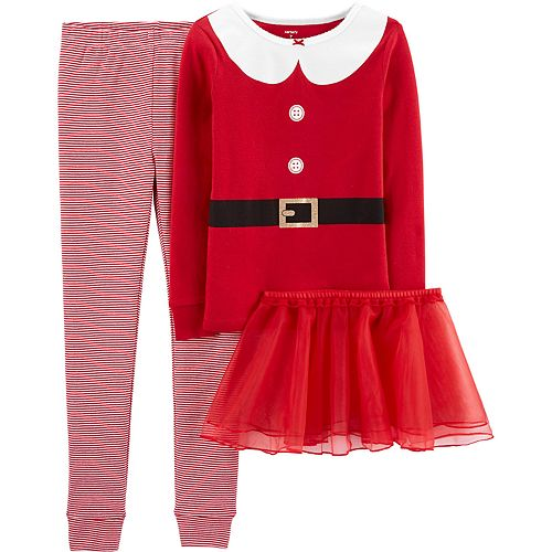 Girls 4-14 Carter's Christmas Santa Snug Fit Cotton Top & Bottoms Pajama Set