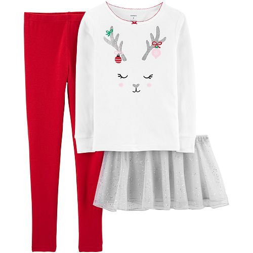 Girls 4-14 Carter's Reindeer Snug Fit Cotton Top & Bottoms Pajama Set