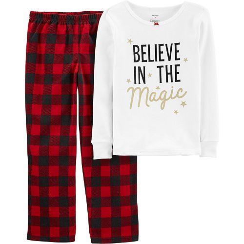 Girls 4-14 Carter's Christmas Fleece Top & Bottoms Pajama Set