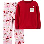 Girls 4-14 Carter's Christmas Santa Fleece Top & Bottoms Pajama Set