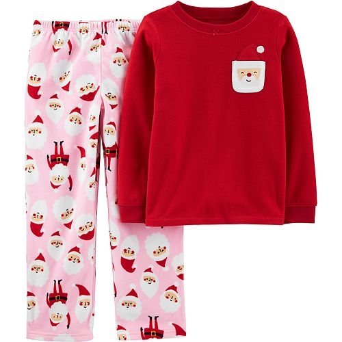 Girls 4-14 Carter's Christmas Santa Fleece Top & Bottoms Pajama Set