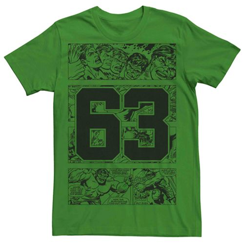 Men's Marvel Hulk Comic Strip Collegiate 63 Tee